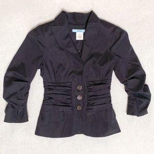 Marciano Black Ruched Silk Blazer - 0